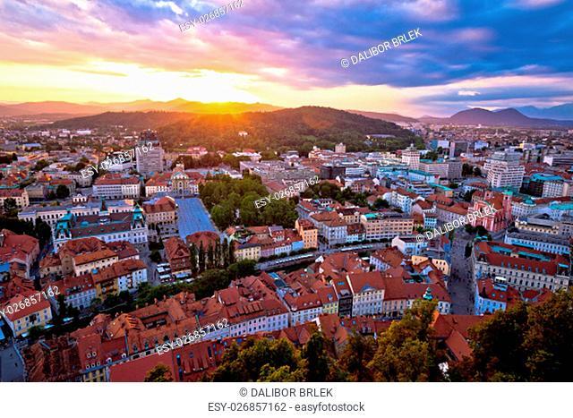 Sunset above Ljubljana aerial view, capital of Slovenia