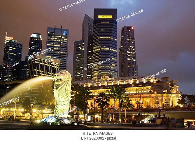 CBD Central Business District Fullerton Hotel Merlion Park Singapore