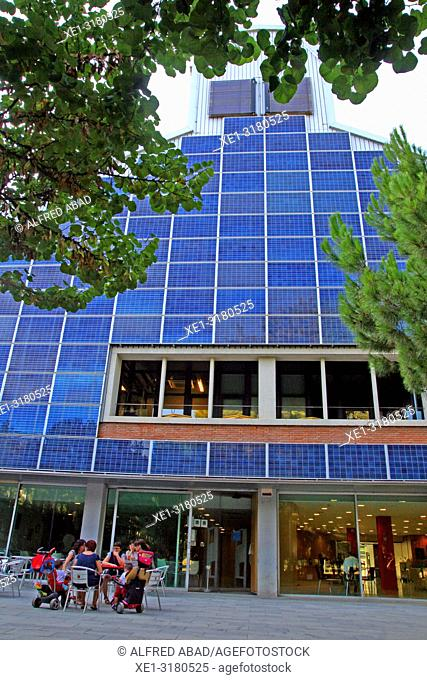 solar panels, building of the Francesc Candel library, Barcelona, Catalonia, Spain