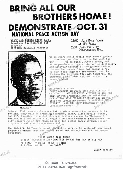 Bring All Our Brothers Home, Demonstrate Oct 31, a leaflet calling for demonstrations by the African-American community against the Vietnam War