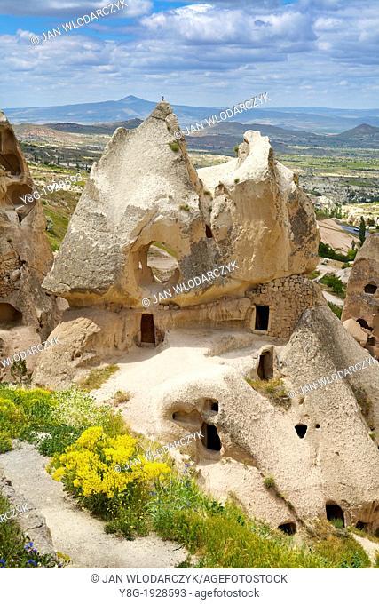 Turkey - Cappadocia, caves carved in the rocks, Uchisar, Unesco