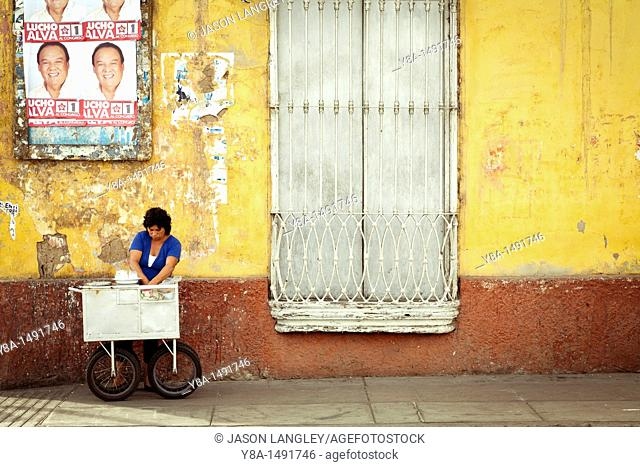 Street vendor preparing quail eggs on the street in Trujillo, La Libertad, Peru