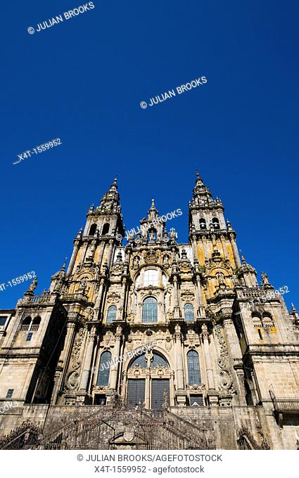 extreme wide angle looking up at the front of the cathedral  Santiago de Compostela, Spain