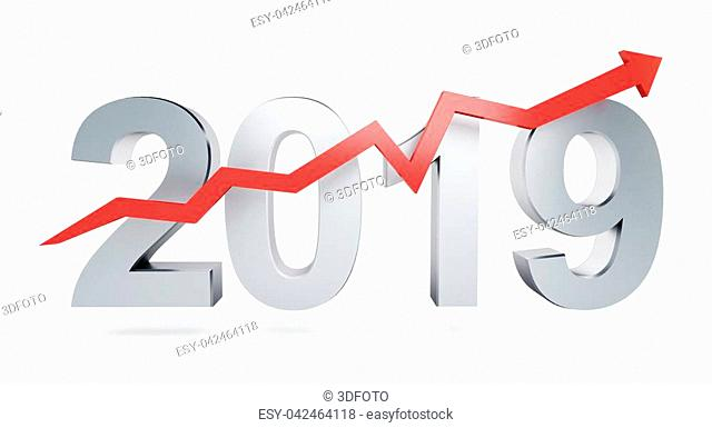 Arrow up for 2019 on a white background 3D illustration, 3D rendering