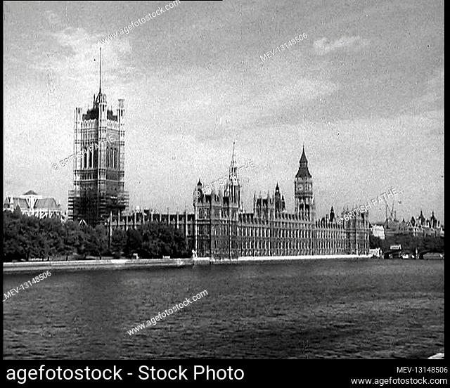 A View Taken From Lambeth of the Palace of Westminster, the Houses of Parliament, and the Elizabeth Tower Containing Big Ben Alongside the River Thames - London