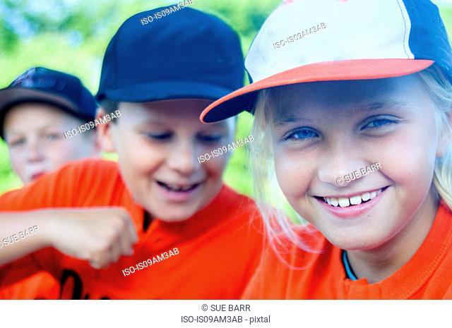 Young baseball players fooling around