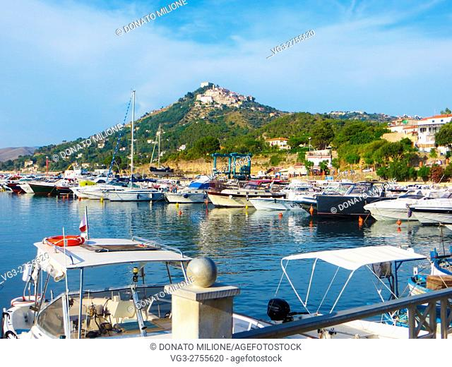 Castellabate, Salerno, Cilento, Campania, Southern Italy, . San Marco di Castellabate, the harbor (realised in 1954). in the background, on the Mount