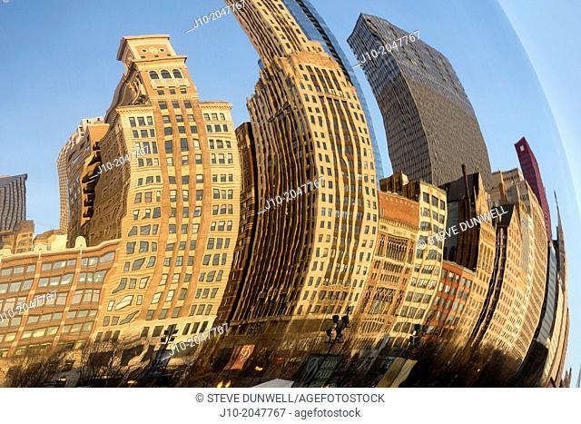 Cloud Gate, reflections, Millenium Park, Chicago, Illinois, USA