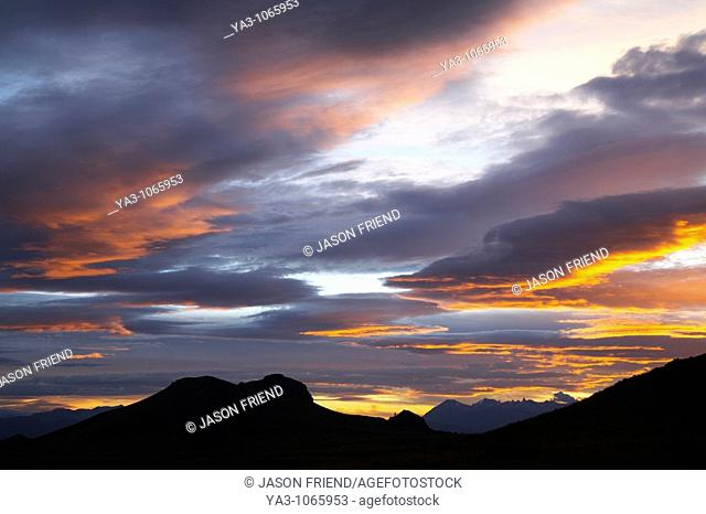 Argentina, The Lake District, Parque Nacional Nahuel Huapi  A colourful sunset over the patagonian peaks to be found near Bariloche