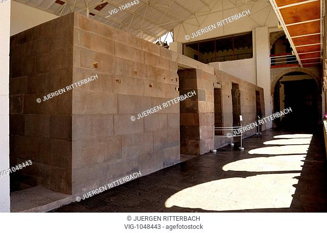 CUSCO, PERU, 01.05.2005 Inca temple of sun, Qoricancha, monastery Santo Domingo. - CUSCO, PERU, 01/05/2005