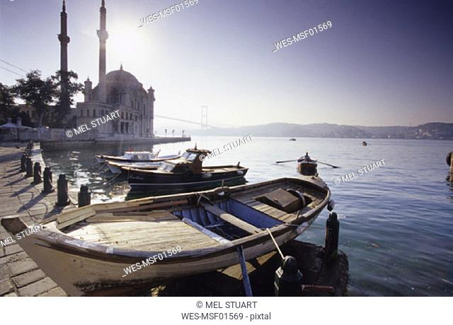 Ortakšy Camii at Bosporus,Turkey, fisherboats at the bay