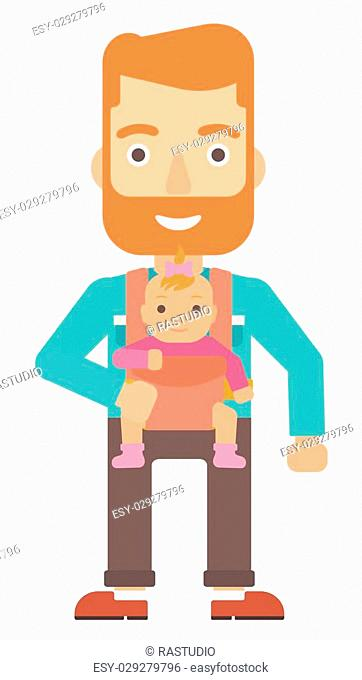 A hipstre man with the beard carrying a baby in sling vector flat design illustration isolated on white background