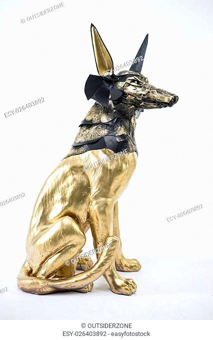 Guard, sculpture of the Egyptian god Anubis, gold figure and black jackal