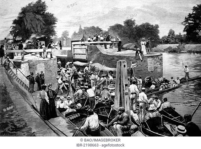 On the River Thames in London, England, United Kingdom, historic wood engraving, about 1897