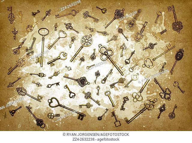 Several old-fashioned brass keys of different form and size on shabby brown background. Milk and keys abstract still life