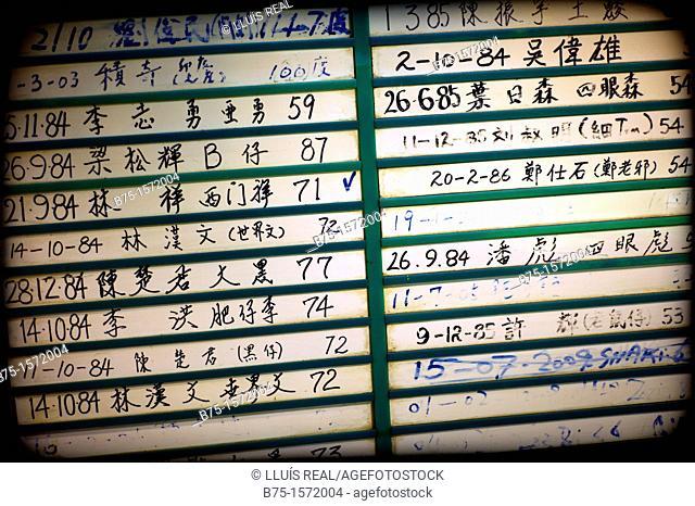 Snooker game scoreboard, Hong Kong, China