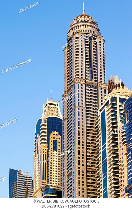 UAE, Dubai, Dubai Marina, high rise buildings, dusk