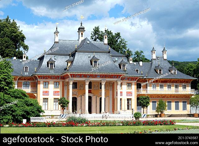 Pillnitz castle in Dresden with the mountain palais and the great castle park - Germany