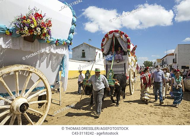 During a famous Pentecost pilgrimage the village of El Rocio converts into a colourful spectacle with beautifully decorated ox-carts