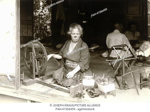Silk production at home. Pictured in the early 1920th. - /Japan