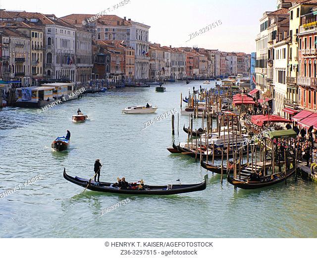 Grand Canal with gondolas, Venice, Italy
