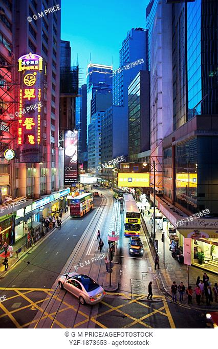 Traffic at dusk on Hong Kong's Des Voeux Road