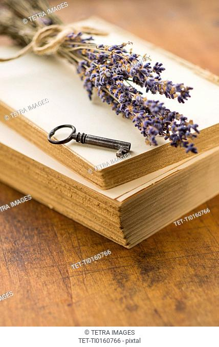 Antique book with key and lavender