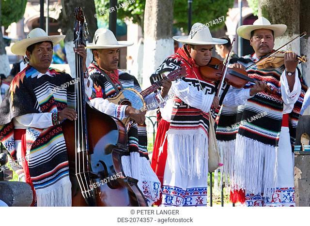 Group Performing The Danza De Los Viejitos (Old People's Dance) On The Plaza De Armas (Plaza De Los M
