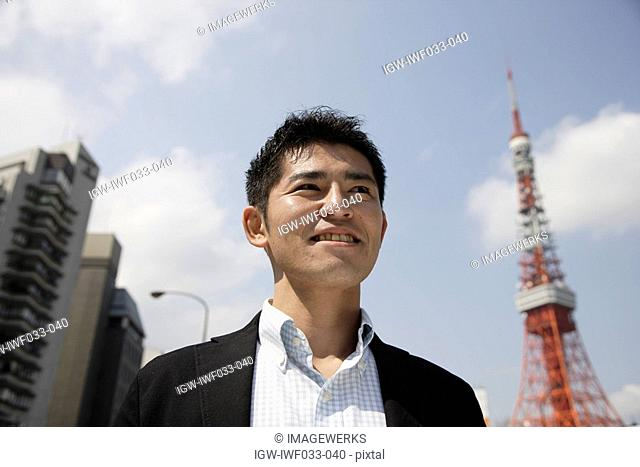 Low angle view of a man looking away