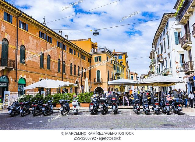 Motorcycles parked on the street. The motorcycle is the most used urban vehicle. Verona, Veneto, Italy, Europe
