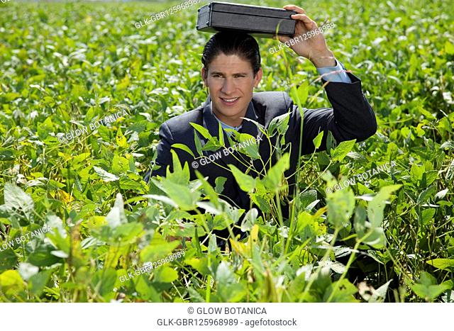 Businessman with a briefcase on his head in a field