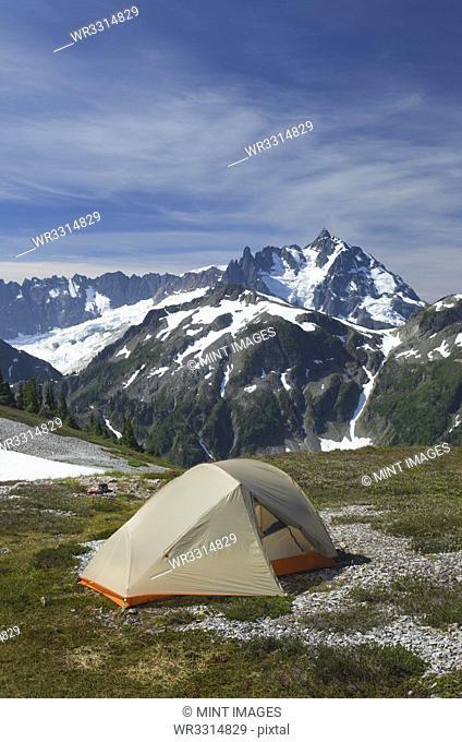 Tent at campsite in remote landscape