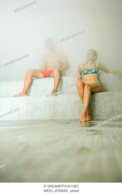 Couple relaxing in a hammam