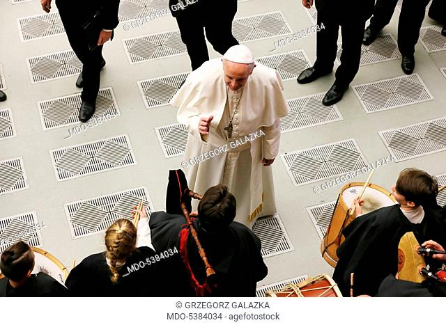 Pope Francis (Jorge Mario Bergoglio) during the General Audience in the Paul VI Audience Hall. Vatican City, 21th December 2016
