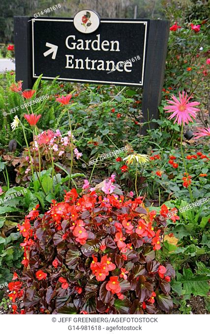 South Carolina, Charleston, Ashley River Road, Magnolia Plantation and Gardens, 1676, National Register of Historic Places, heritage, garden entrance, sign
