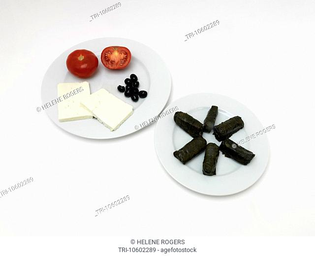 Greek Food Dolmathis Rice and Herbs wrapped in Vine Leaves Tomatoes Feta Cheese and Black Olives