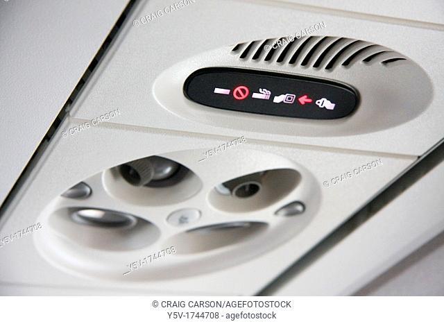 Canadair Regional Jet CRJ interior above seats