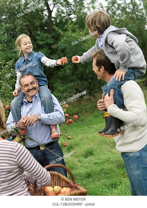 Children and adults picking apples