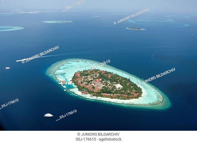 Aerial view of Kurumba Island, North Male Atoll, Maldives
