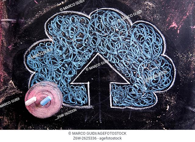Graphic representation with chalk on blackboard symbol of the upload line