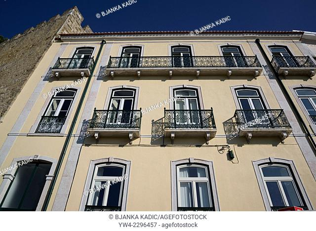 House with balconies, Rua Costa do Castelo, Lisbon, Portugal