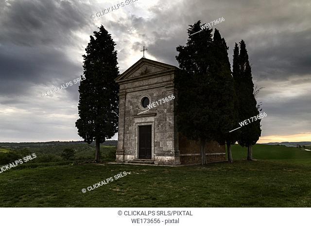 sunrise on Madonna di Vitaleta's chapel, val d'orcia, siena, Tuscany, italy