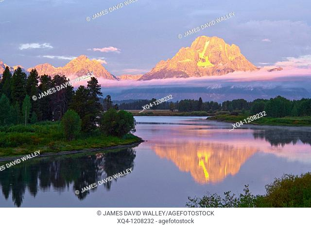 Mount Moran at dawn from Oxbow Bend, Grand Teton National Park