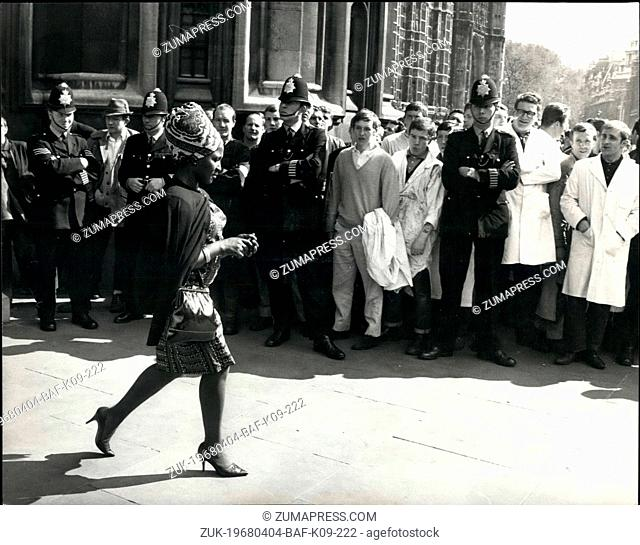 Apr. 04, 1968 - Smithfield Porters march to Westminster. About four hundred porters from Smithfield meat market today marched to Westminster , in support of Mr