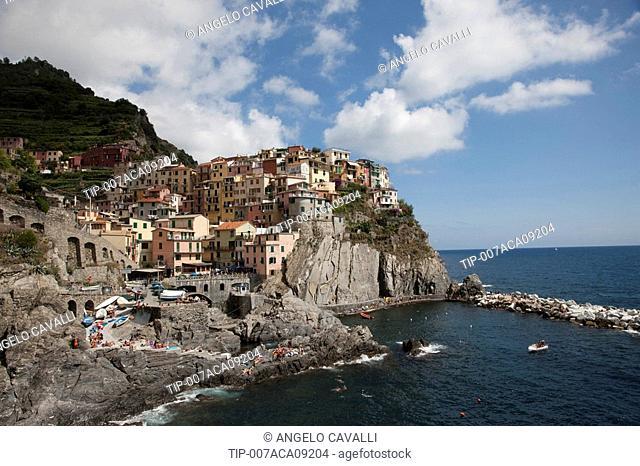 Italy, Region Liguria, Cinque Terre, The village of Manarola, Mediterranean sea