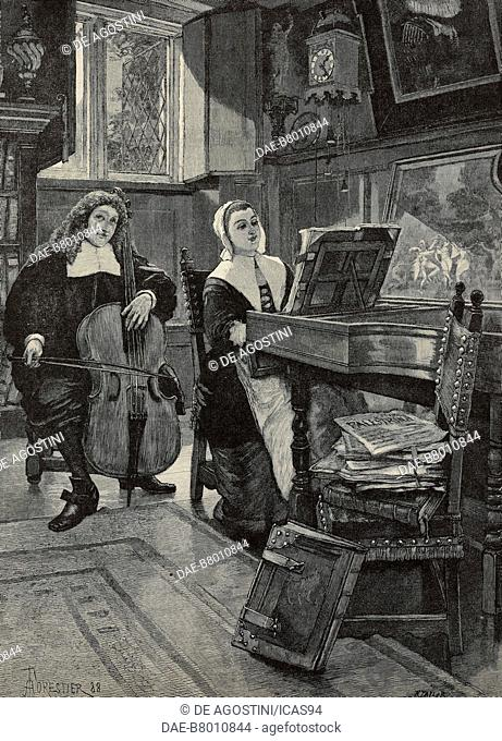 Violoncello and spinet, illustration by Amedee Forestier (1854-1930) for For Faith and Freedom, novel by Walter Besant (1836-1901)