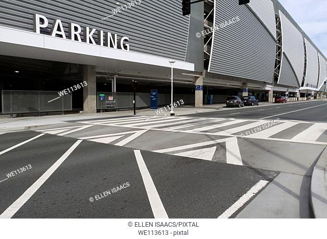 Crosswalk leading to parking structure at San Jose Airport in California