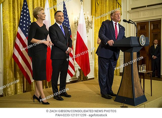 U.S. President Donald Trump speaks during a Polish-American reception White House in Washington, DC, USA, 12 June 2019. Also pictured are Polish First Lady...