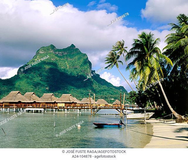 Lagoon resort and Mount Otemanu. Bora Bora. French Polynesia