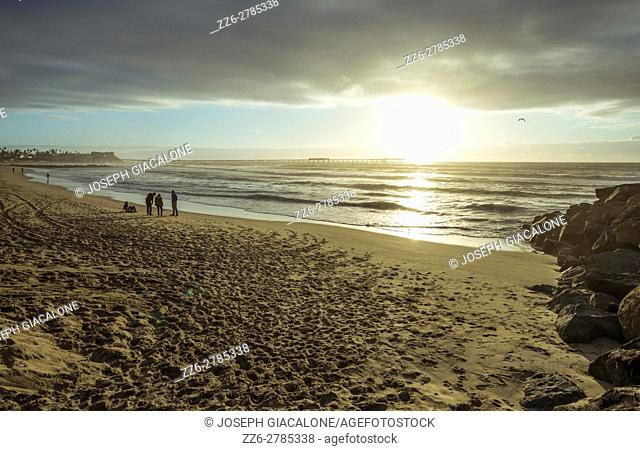 Coastal sunset at Ocean Beach, San Diego, California, USA